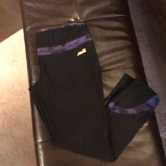 Avia Pants - Avia small black athletic leggings w purple